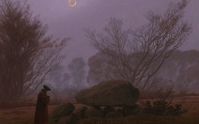 Picture landscape, stone, picture, The moon, Caspar David Friedrich, A walk in the Twilight