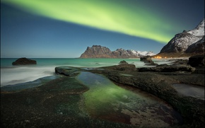 Picture sea, mountains, coast, Northern lights, Norway, Norway, Lofoten