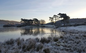 Wallpaper lake, morning, frost