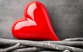 Picture love, branches, heart, red, love, heart, wood, romantic
