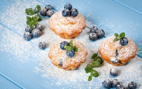 Picture berries, blueberries, cakes, cupcakes, powdered sugar
