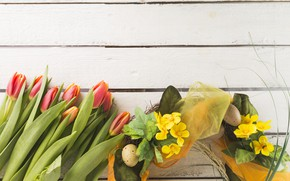 Picture flowers, eggs, Easter, tulips, Holiday, wreath