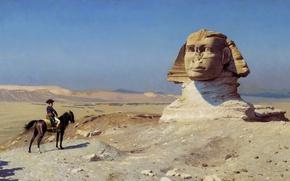 Wallpaper Jean-Leon Gerome, Egypt, Oedipus, Bonaparte before the Sphinx, history, picture, genre