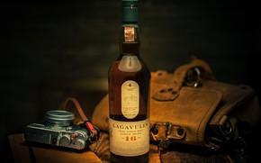 Wallpaper style, bag, whiskey, the camera, bottle