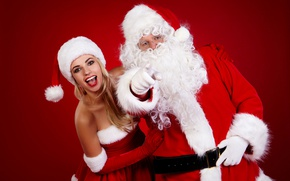 Wallpaper joy, red, background, mood, holiday, hat, Christmas, makeup, dress, glasses, hairstyle, blonde, New year, gloves, ...