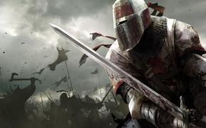 Wallpaper the sky, weapons, armor, battle, Warrior, battle, knight