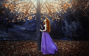 Picture autumn, leaves, girl, tree, dress, Ronny Garcia, Prelude of light