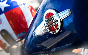Picture red, Harley Davidson, white, blue