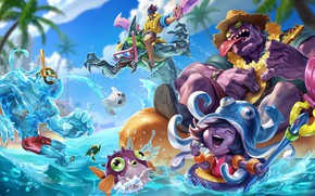 Picture the game, art, champion, sixmorevodka studio, Pool Party - League of Legends