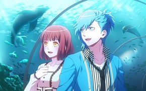 Picture girl, aquarium, anime, art, guy, Uta no Prince-sama