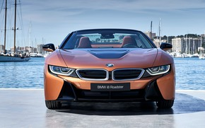 Picture Roadster, front view, harbour, 2018, BMW i8