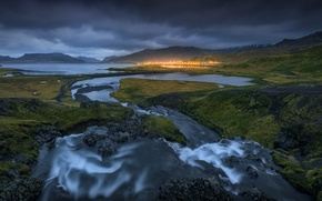 Picture mountains, lights, river, stream, the evening, Iceland