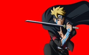 Wallpaper red, sword, Naruto, seal, anime, katana, fight, ken, blade, ninja, asian, manga, shinobi, japanese, oriental, ...