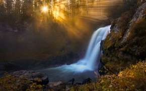 Picture light, river, waterfall, morning
