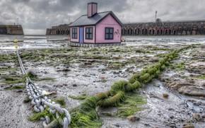 Picture sea, shore, pier, pierce, house, chain