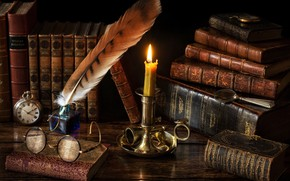 Picture style, pen, watch, books, candle, glasses, magnifier, candle holder, ink