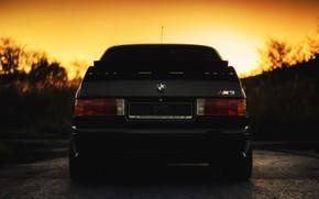 Picture Sunset, The sun, Auto, Black, BMW, Machine, Boomer, Logo, BMW, E30, BMW M3, BMW E30, …