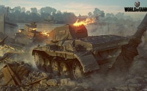 Picture trees, battle, tanks, World of Tanks, Pz.Kpfw.IIAusf.D vs M2