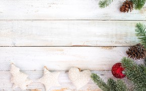 Picture decoration, berries, holiday, new year, hearts, fir-tree branches