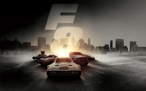 Wallpaper light, the city, cars, Thriller, action, poster, crime, The Fate of the Furious, Fast and ...