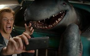 Picture car, cinema, monster, alien, photo, man, movie, film, friends, smartphone, Lucas Till, selfie, Monster Trucks