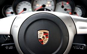Picture Porsche, vehicle, console, steering wheel
