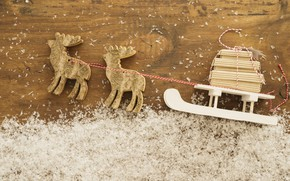 Picture snow, background, holiday, toy, sleigh, deer