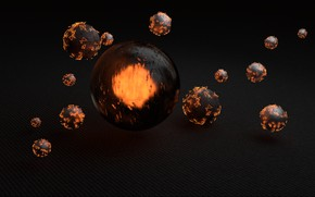 Picture light, render, spheres, reflection, material, blender3d, cycles