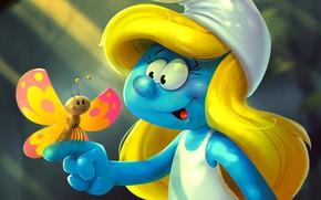 Picture butterfly, tale, art, children's, Smurf, Smurfette, Katya Art