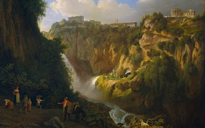 Wallpaper landscape, Waterfall in Tivoli, oil, Abraham Teerlink, picture, canvas