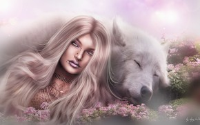 Picture girl, nature, face, background, hair, wolf