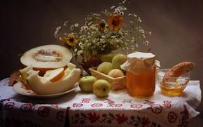 Picture flowers, table, apples, chamomile, Cup, Bank, vase, still life, honey, tablecloth, melon, pretzel