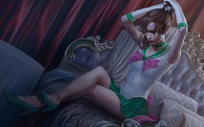 Wallpaper bed, art, anime, girl, Sailor Moon, feet, dress, sailor jupiter