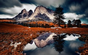 Picture mountains, lake, reflection, tree, Italy, The Dolomites