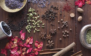 Picture grain, petals, pepper, cinnamon, seeds, wood, lavender, spices, cardamom, star anise