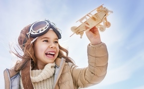 Picture The plane, Glasses, Smile, Children, Girl, Toys, Laughter