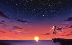 Picture the sun, dawn, magic, horizon, girl, rock, constellation, art, starry sky, Starfall, Mor, KyuriTizu