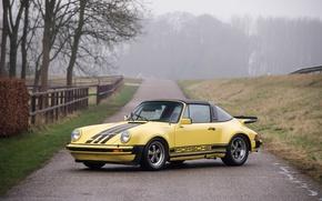 Picture road, autumn, yellow, fog, 911, Porsche, car, road, Carrera, autumn, fog, Targa