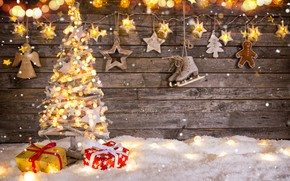 Picture snow, decoration, toys, tree, New Year, Christmas, gifts, garland, happy, Christmas, vintage, wood, snow, New …