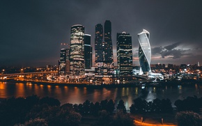 Wallpaper night, the city, lights, Russia, Moscow City