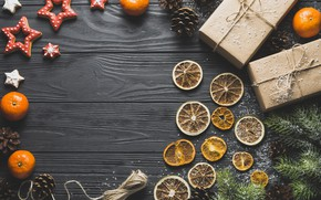 Picture star, spruce, cookies, gifts, Mandarin, dry orange, the new year 2018