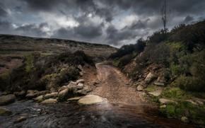 Wallpaper road, England, river, stones
