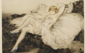 Picture woman, stockings, shoes, smokes, 1925, Louis Icart, art Deco, etching and aquatint, White negligee