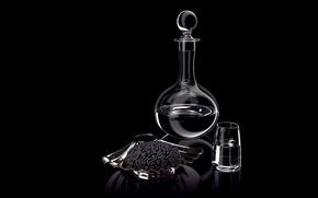 Wallpaper caviar, decanter, glass, still life