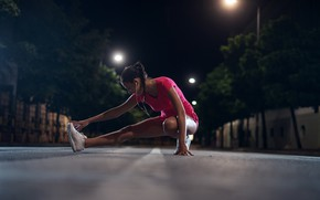 Wallpaper lights, fitness, stretching, street, pigtail, bokeh, sneakers, Mike, trees, home, exercise, girl, night, shorts, brunette, ...