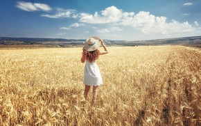 Picture field, the sky, girl, the sun, clouds, landscape, pose, hat, dress, ears, red, in white