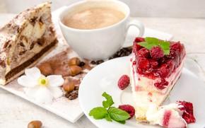 Picture berries, raspberry, coffee, cake, mint, hazelnuts