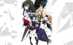 Picture girl, sword, anime, katana, boy, ken, blade, mask, seifuku, miko, Armed Girl's Machiavellism, Busou Shoujo …
