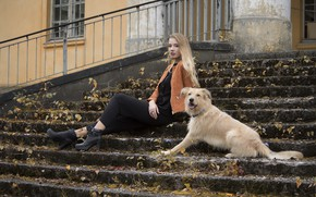 Picture girl, dog, steps, sitting