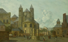 Picture tree, oil, picture, Johannes Hubert Prince, Fantastic view of the City with a Romanesque Church